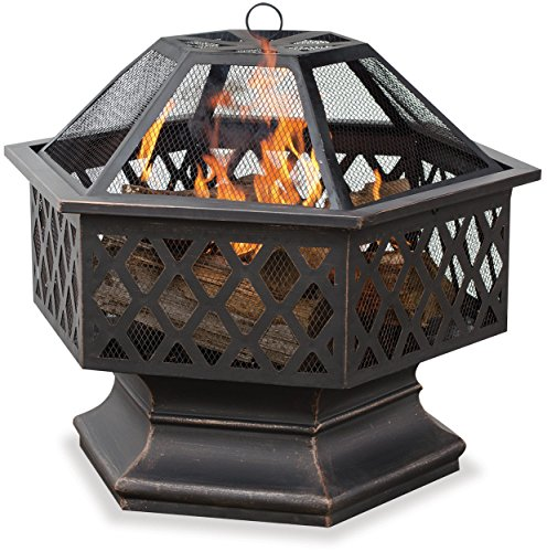 Endless Summer,WAD1377SP, Hex Shaped Outdoor Fire Bowl with Lattice, Oil Rubbed Bronze - 24 in. diameter bowl Wood burning for convenient heating Spark guard included for safety - patio, outdoor-decor, fire-pits-outdoor-fireplaces - 51y7fD4R5xL -