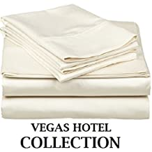 """VEGAS HOTEL COLLECTION Great Sale RV Camper Short Queen (60"""" x 75"""" ) Size 400-TC 100% Egyptian Cotton """"Ivory Color"""" 4-PC Sheet Set Fits up to 7-9 Inches Sofa Cum Bed { Solid Pattern }"""