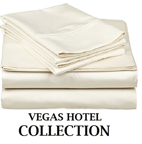 VEGAS HOTEL COLLECTION - Italian Finish { Ivory, Solid } Luxurious Looking { 4PCs } Sheet Set - Fits upto 10-15 inch Sofa Cum Bed Egyptian Cotton 400 Thread Count (Vegas Sofa Collection)