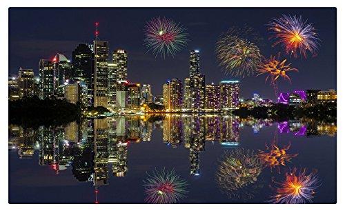 Australia Houses Rivers Fireworks Night Brisbane Cities travel sites Postcard Post card