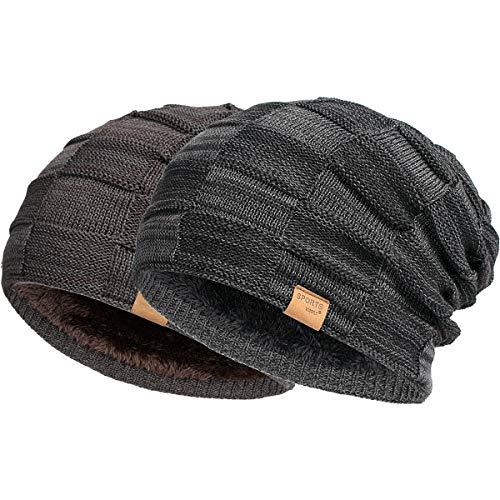 Vgogfly Beanie Hat for Men and Women Winter Warm Hats Knit Slouchy Thick Skull Black