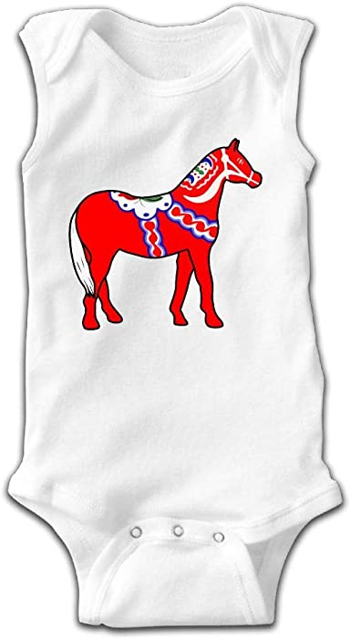Swedish Horse Printed Baby Boys Sleeveless Bodysuit Outfits Clothes