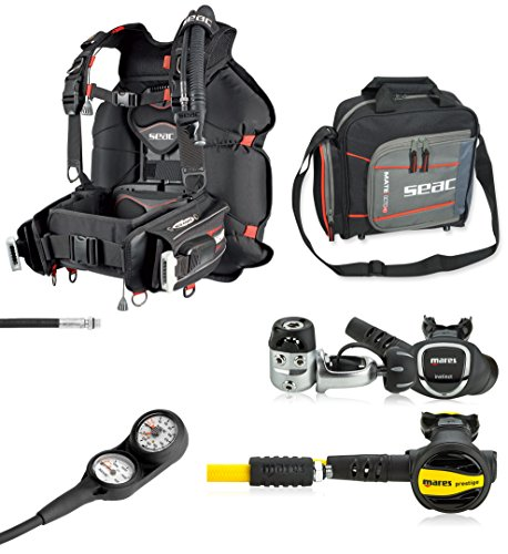 SEAC Nick BC Scuba Regulator Octo Two Gauge Console Dive Gear Package, Large