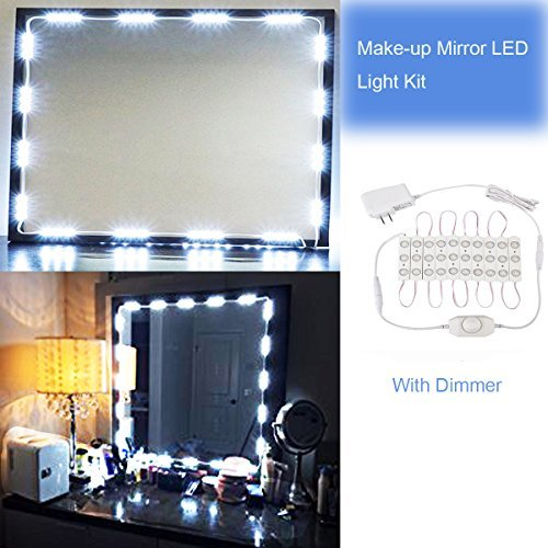 Huamai Vanity Light,Makeup Mirror Light Bathroom Vanity Light Kit, DIY Mirror Light Kit for Cosmetic Hollywood Mirror 30 LEDs with Power Supply and LED Dimmable Controller, White(Mirror Not Included)