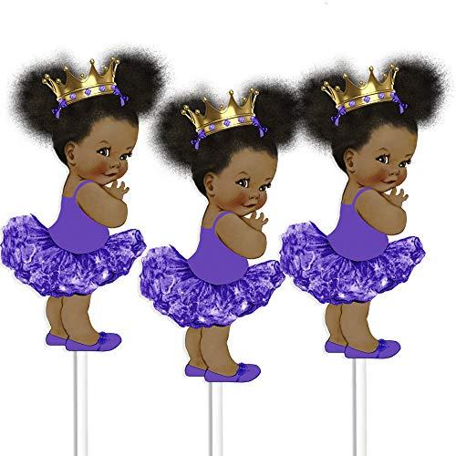 Purple Little Princess Table Decoration Centerpieces, Set of 3 African American Princess Royal Birthday Cake Centerpieces]()
