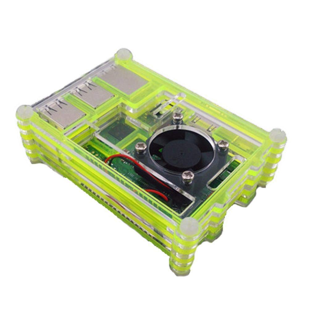 Yellow zhuyu Clear Acrylic Case Shell Enclosure Box Cooling Fan For Raspberry Pi 3 B
