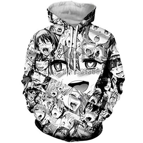 Unisex Funny 3D Printing Ahegao Anime Hoodie ()