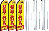Best Buys Here King Swooper Feather Flag Sign Kit With Complete Hybrid Pole set- Pack of 3