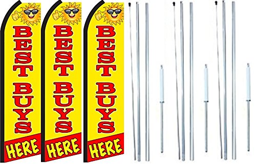 Best Buys Here King Swooper Feather Flag Sign Kit With Complete Hybrid Pole set- Pack of 3 by OnPoint Wares