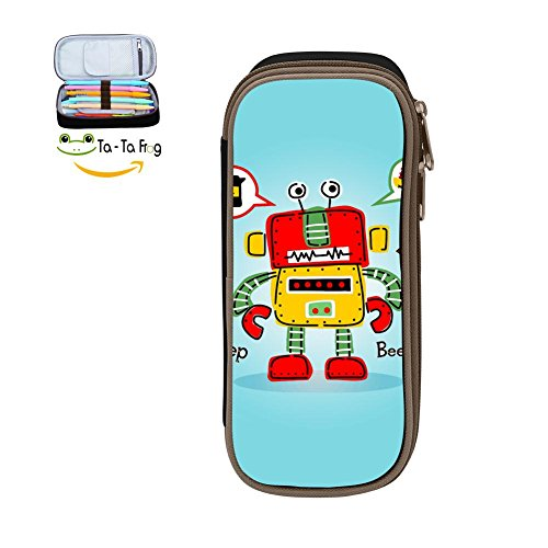 Big Capacity Canvas Pen Bag Multi-Colored For Women ,Print Robot Cartoon ,Black (Race Shapes Robot)
