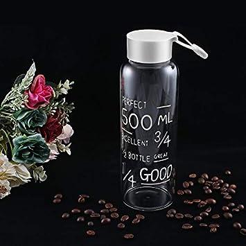 Yogasada Botella 600 ML de Agua de Cristal irrompible Viaje Que Bebe la Botella de Agua Vasos