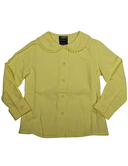 2cd9138b214c67 French Toast School Uniform Girls Long Sleeve Peter Pan Blouse with Lace  Trim Collar, Yellow