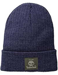 Mens Heathered Ribbed Watch Cap With Patch Logo