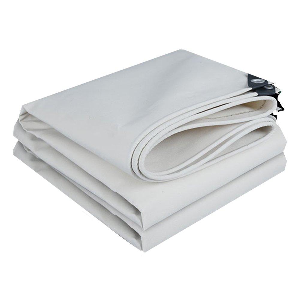 CHAOXIANG ターポリン 厚い 暖かく保つ 耐摩耗性 老化防止 キャノピー布 防雨布 防水 キャンバス、 500G /㎡、 17サイズ (色 : 白, サイズ さいず : 4x6m) B07FXK8YBZ 4x6m|白 白 4x6m
