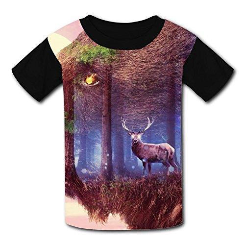 Price comparison product image Bear Deer T-Shirt Short Sleeve Kids Tee Shirt Black Cartoon 2018 for Girls Boys Black