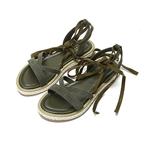 Zapatos Planas Solo De Y Correa Planos Sólido Antideslizant Sandalias GAOLIM Resistente Mujer Mujer Abrasión El Zapatos Con A Reposapiés Color Redonda Impermeables Verano verde Zapatos De Sandalias Cabeza La tqxwI8ZC