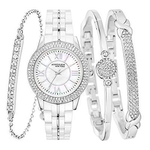 Anne Klein New York 12/2299SVST SS Ceramic White Watch & 3 Bangle Set