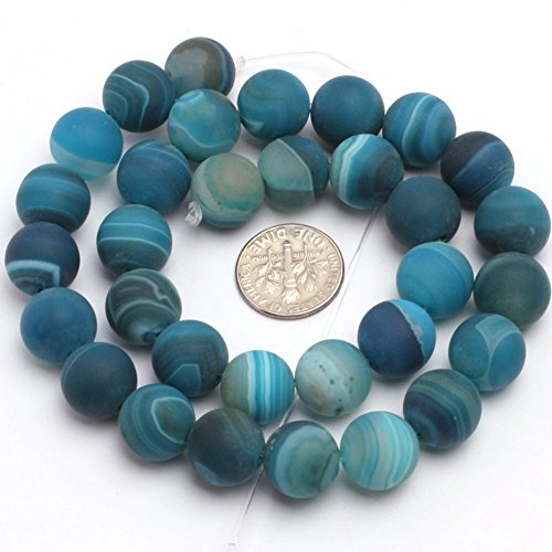 JOE FOREMAN 12mm Stripe Blue Agate Semi Precious Gemstone Round Frosted Matte Loose Beads for Jewelry Making DIY Handmade Craft Supplies 15