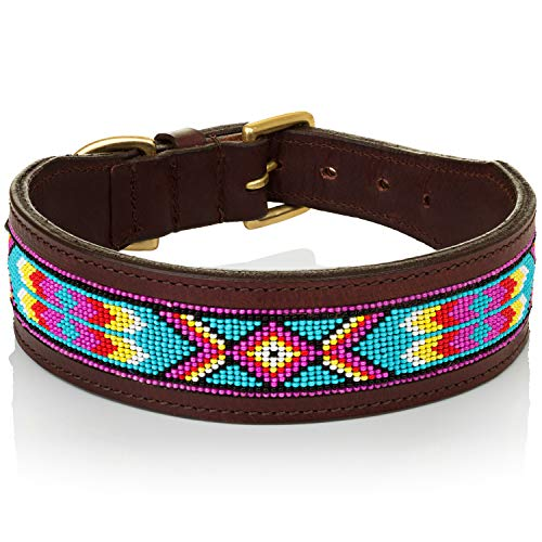Paw Pals Pets Genuine Leather Dog Collar Aztec Beaded Design Handmade All Breeds