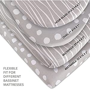 Bassinet Sheet Set 2 Pack 100% Jersey Cotton Grey and White Abstract Stripes and Dots by Ely's & Co.