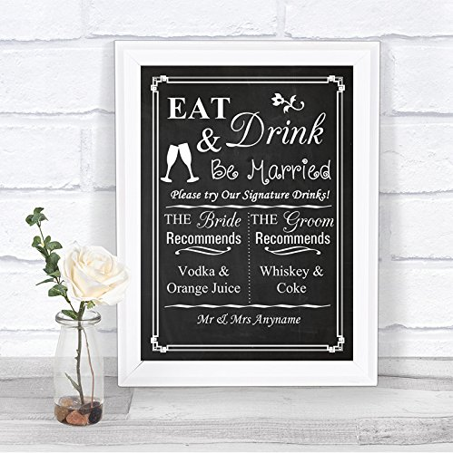 Chalkboard Style Signature Drinks Cocktail Bar Personalized Wedding Sign
