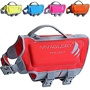 Vivaglory Neoprene Dog Life Jacket, Reflective Life Vest for Pets, with Superior Buoyancy and Rescue Handle, Skin-friendly for Your Puppy, Red, Extra Small