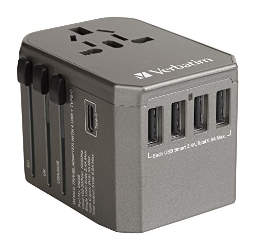 World Travel Power Adapter, All in one International Wall Charger AC Plug Adapter for USA EU UK AUS iPhone iPad Android Samsung and More(Grey) by Topsa