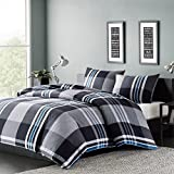 3pc Black Plaid Full Queen Size Duvet Cover Set, Horizontal Vertical Stripes Squared Pattern Theme Lumberjack Bedding Checked Checkered Madras Tartan Cottage Woods, Cotton