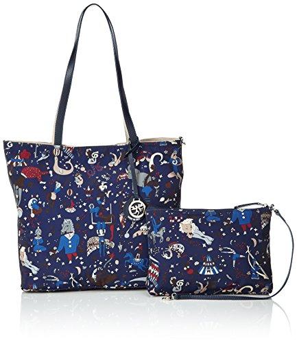 Piero Guidi Damen Reversible Tote-Bag, 31x28x14 cm Mehrfarbig (Blu)