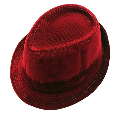 Mens Velvet Fedora HAT Selections - Stylish Trilby Panama Hat (Burgundy)