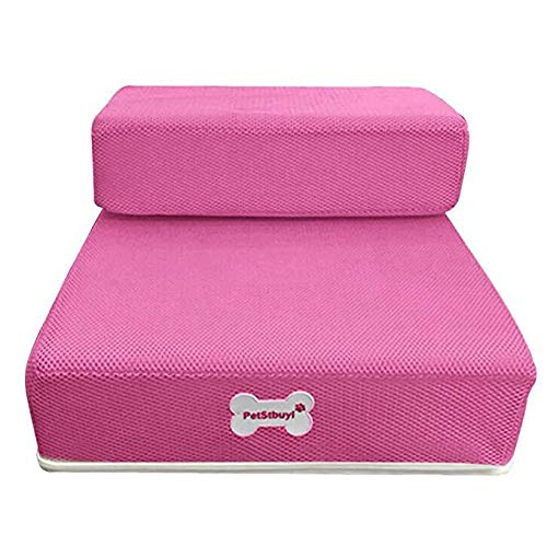 Hisoul Pet Stairs Soft Cover Breathable Mesh Foldable Pet Stairs - Washable Breathable, Detachable Pet Bed Stairs Dog Ramp - 2 Steps Ladder, for Older Ailing Pets (♥ Pink, S-Flat: 26.3