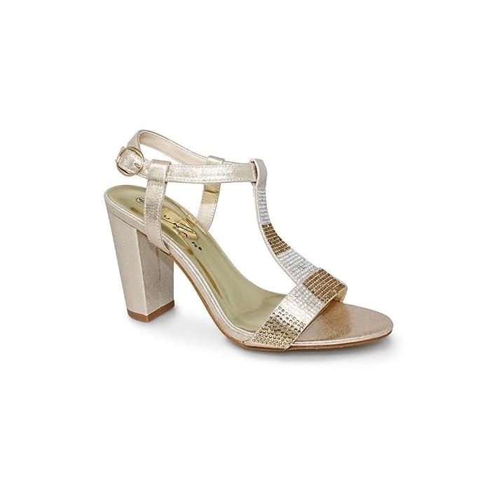 b0c6ac3605a6 Lunar Womens Lagoon Diamante Block Heel Sandal with Diamante Trims ...