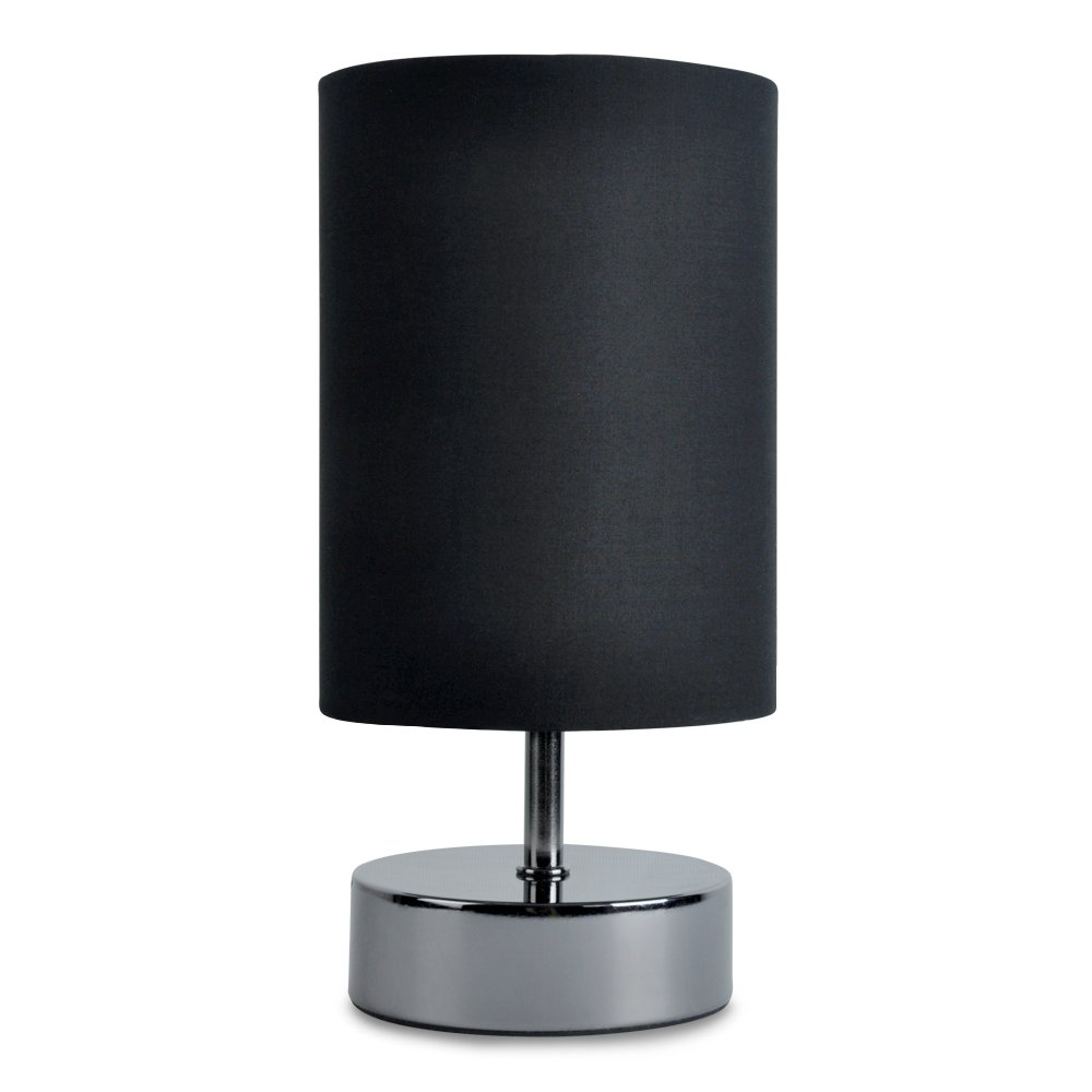 Modern Black Chrome Touch Dimmer Bedside Table Lamp With Polycotton Black Light Shade