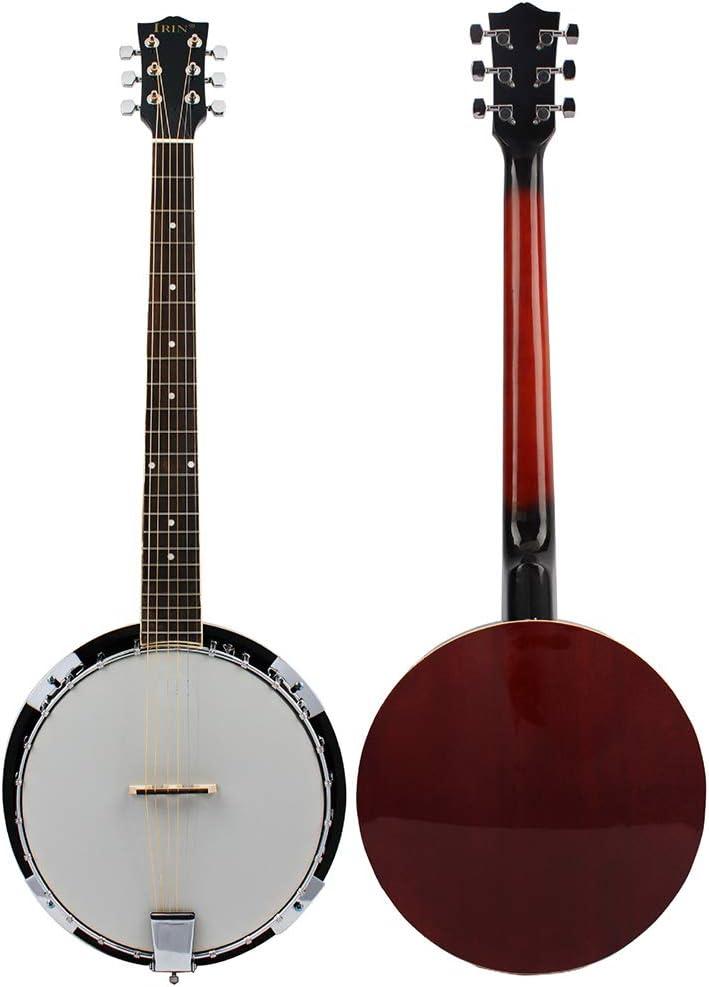 BLKykll Banjo Guitarras Acústicas Banjo De 6 Cuerdas Bandeja Dura con Palanca De Ajust Jugar Regalos El Viernes