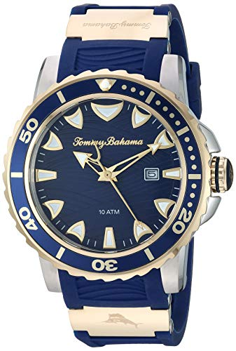 Tommy Bahama Men's Stainless Steel Japanese Quartz Rubber Strap, Blue, 24 Casual Watch (Model: 215156GST711) (Big Bahama And Tommy Clearance Tall)
