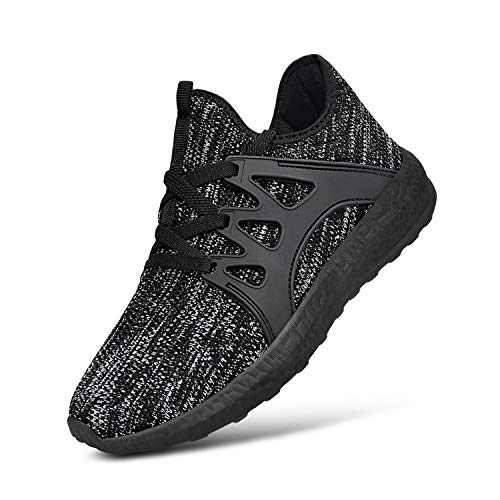 MARSVOVO Boys Shoes Runing Walking Sneakers Mesh Light Weight Breathable for Boys&Girls Grey Black Size5.5 Big ()