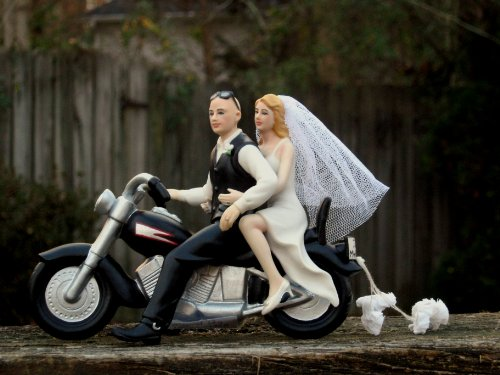 Motorcycle Cake Topper BALD Groom -- By Magical Day -