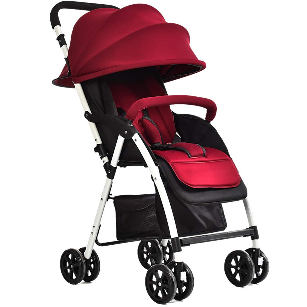 SSRS Pram Set Strollers Baby Travel System Ultralight Fold Reclining Sunscreen Portable Unisex Buggy Wine red