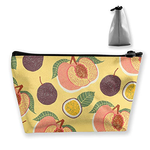 Makeup Bag Cosmetic Fruits Leaves Peach Portable Cosmetic Bag Mobile Trapezoidal Storage Bag Travel Bags with Zipper -