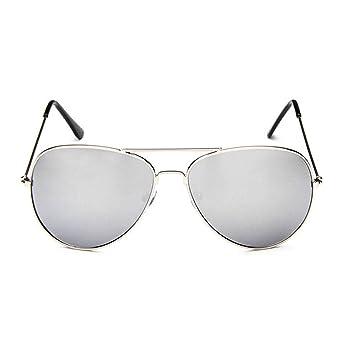 Sunb Gafas de sol para Hombres Mujeres Aviador Polarizado Metal Espejado (Silver): Amazon.es: Deportes y aire libre