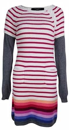 Nine West Women's Casual Striped Sweater Dress (X-Small, Wisteria)