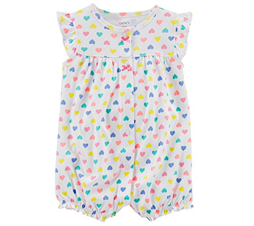 Carter's Baby Girls' Heart Multi Print Romper Newborn ()