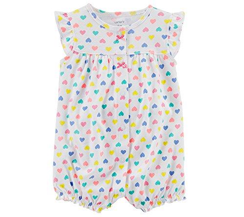 Carter's Baby Girls' Heart Multi Print Romper Newborn Multi/White