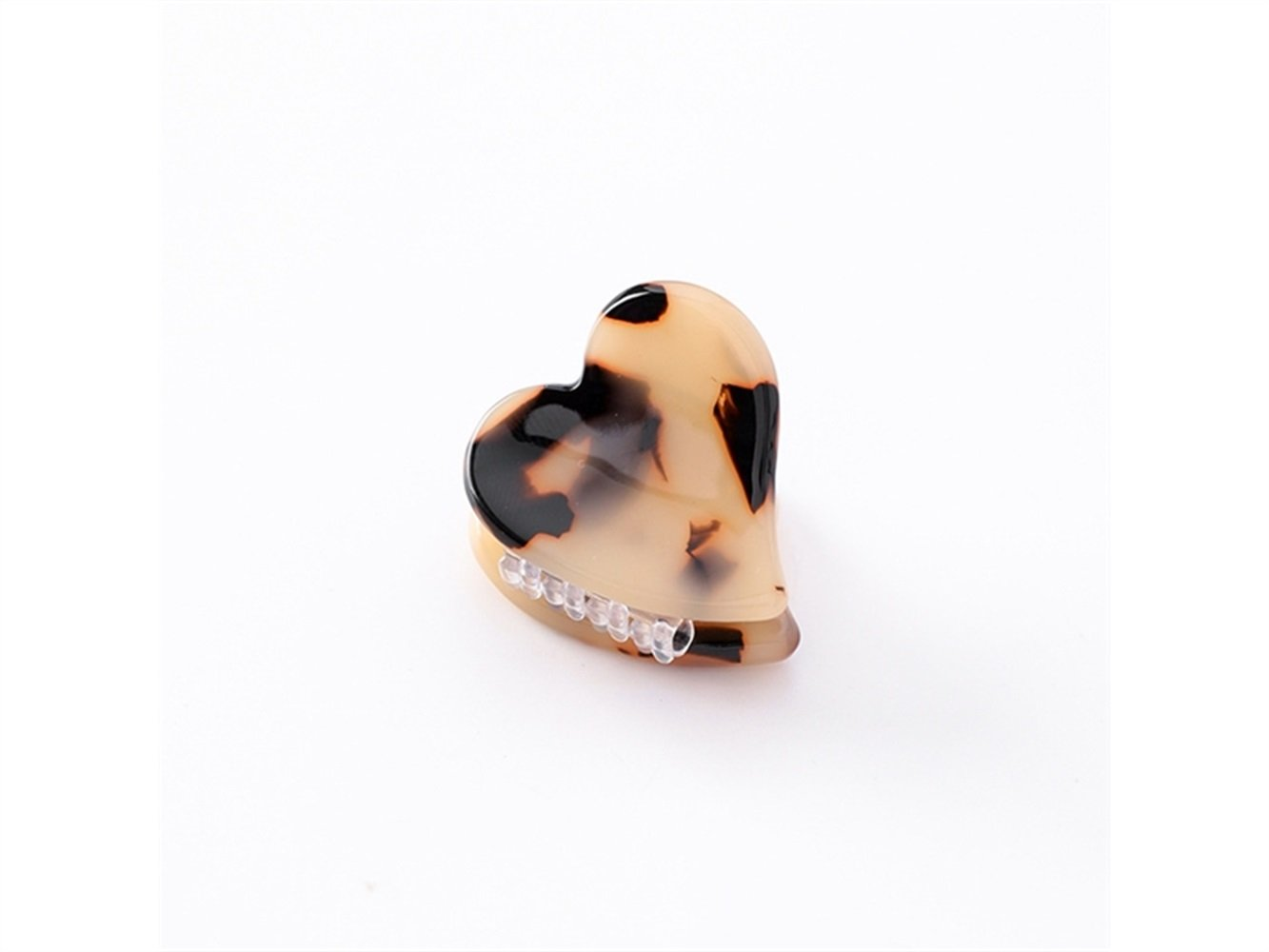 Gelaiken Love Heart-shaped Marbled Printing Mini Claw Clips Mini Jaw Clips(Leopard Print) for Different Hair Style
