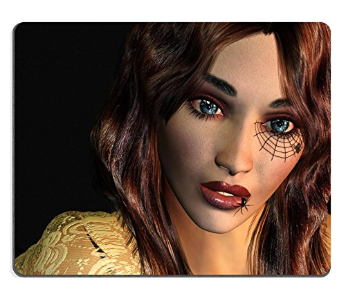 [Liili Mouse Pad Natural Rubber Mousepad 3d rendering of a young woman with a tattoo on the eye a Gothic as illustration Photo] (Spider Web Eye Makeup)