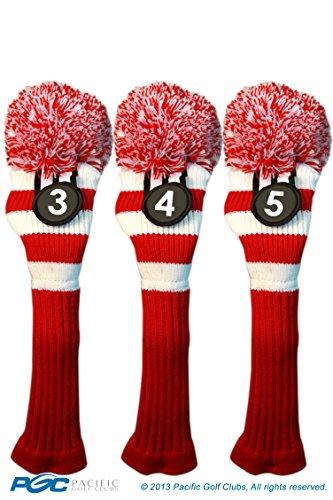 (Majek #3, #4, & #5 Hybrid Combo Pack Rescue Utility Red & White Golf Headcover Knit Pom Pom Retro Classic Vintage Head Cover)