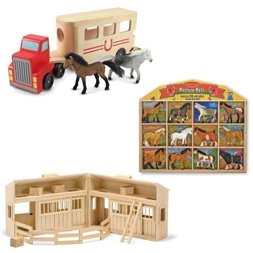 Melissa & Doug Horse Carrier + Fold and Go Mini Stable + Pasture Pals (Mini Horse Stable)