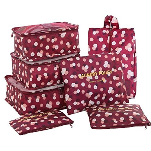 7 Set Travel Packing Organizer,Waterproof Mesh Durable Luggage Travel Cubes with 1 Shoe Bag - Travel Luggage Compression Organizers (Wine Red - Bag Outlet Guess