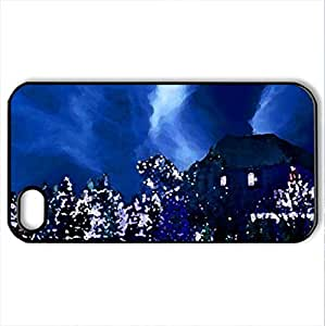 Blue Christmas night - Case Cover for iPhone 4 and 4s (Houses Series, Watercolor style, Black)