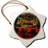 3dRose Alexis Photography - Transport Railroad - Retired heavy duty steam locomotive. Stylized photo - 3 inch Snowflake Porcelain Ornament (orn_270619_1)